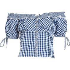 (navy/white) Damen Trachten Bluse mit verspieltem Carmen-Ausschnitt - Trachtenbluse von Brandl Tracht die durch den Mix aus Blockkaro und Vichykaro besticht, leicht taillierter Schnitt, großer elastischer Rundhals