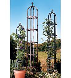 Classic Decorative Powder-Coated Steel Garden Obelisks --Plow and Hearth