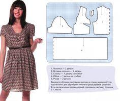 Pattern fashionable dresses / Выкройка модного платья