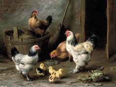 Edgar Hunt, cockerel hens and chicks by a barn door Farm Animals, Animals And Pets, Rooster Art, Chicken Art, Chickens And Roosters, Hens And Chicks, Farm Yard, Animal Paintings, Bird Art