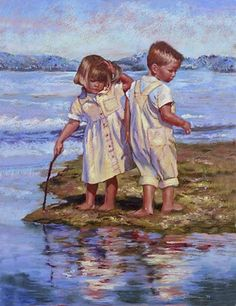 A painting of my very own niece and nephew by a wonderful artist, Patricia Christensen. (The twins are now 16!)