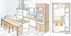 Com um bom projeto, pode-se incluir até uma torre de fornos e uma bancada de refeições, além do fogão em ilha, em 9 m².
