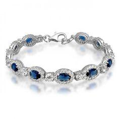 Sterling Silver Oval Blue Sapphire Hope Diamond CZ Tennis Bracelet