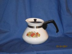 Corning Ware Coffee/Tea Pot 6 cup vintage by reuseitbarn on Etsy