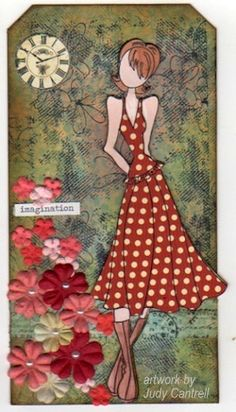 Love this piece using one of my Julie Nutting paper doll stamped image.