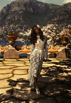 Styled by Marina Didovich, Mariana Braga is taking it easy on the Amalfi Coast in white lace, pleated skirts, linen and strappy sandals. Providing the perfect antidote from miserable December weather, this editorial gives the beholder the chance to escape to the rustic, romantic streets of Southern Italy.