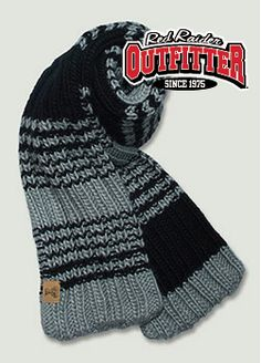 Grey & Black Cable Knit Leather Double T Scarf #RedRaiderOutfitter #TexasTech #RedRaiders #ttu