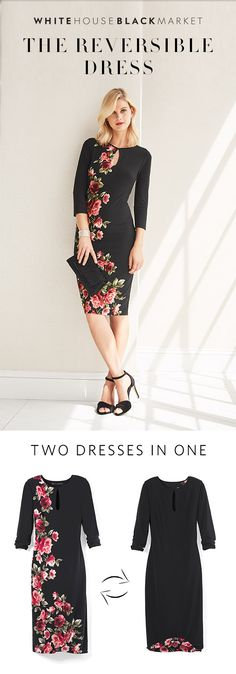 Add a feminine flair to your wardrobe with the must-have winter florals of the Reversible Dress. Two dresses in one—how can you say no? With this blossoming print, impeccably placed on black or white, you can transition from romance to all-business—you'll be the pick of the bunch with this dress.    White House Black Market
