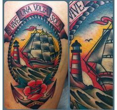 tattoo old school / traditional nautic ink - caravel ship with lighthouse