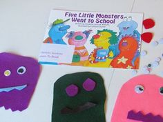 Book, Five Little Monsters Went to School by Rozanne Lanczak Williams & crafts/activities