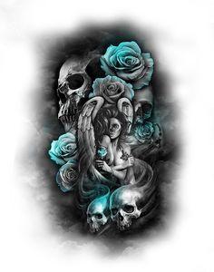 Tattoo designs drawings badass new Ideas Girly Tattoos, Skull Rose Tattoos, Skull Sleeve Tattoos, Half Sleeve Tattoos Designs, Best Sleeve Tattoos, Tattoo Designs Men, Body Art Tattoos, Hand Tattoos, Half Sleeve Tattoos Drawings