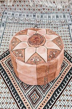leather pouffe beige pouffe morrocan pouffe african by nicerugs