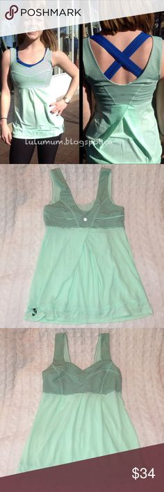 """Lululemon Fresh Teal Tame Me Tank Striped Black 6 -Pre-owned, gently used. Size 6. Measurements taken with item laying flat: 15"""" bust & 26"""" length. Drawstring at the bottom to cinch and make tighter. Striped detailing around bust is black. Teal is more of a mint green to me. lululemon athletica Tops Tank Tops"""
