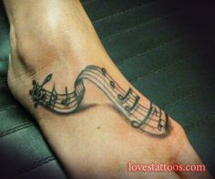 music notes tattoo on foot - 50 Awesome Foot Tattoo Designs Music Tattoo Designs, Tattoo Designs For Girls, Music Tattoos, Body Art Tattoos, Tatoos, Twin Tattoos, Henna Tattoos, Tattoo Ink, Tattoos Musik