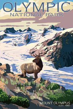 Mt. Olympus & Elk - Olympic National Park, Washington - Lantern Press Poster