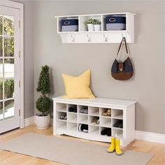 Prepac entryway shelf with hooks in white for home decoration ideas. Entryway Storage, Entryway Decor, Entryway Bench, Entryway Organization, Ikea Storage, Smart Storage, Entryway Hooks, Narrow Entryway, Wood Storage