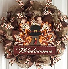 This beautiful turkey wreath is the perfect way to welcome your guests. This wreath is made with natural colored deco mesh. Accented with