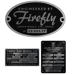 Firefly Replica Builder's Plaques Bumper Stickers - i have these and have gotten so many compliments on them