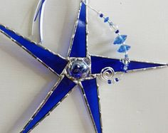 Whimsical, Stained Glass Star, Suncatcher, Deep Blue, with Crystal Beads
