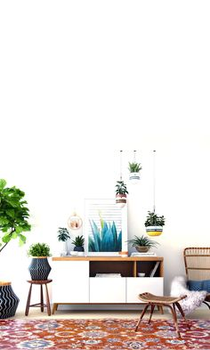 Minimalist foundations for modern eclectic charm // warm eclectic look bing space // modern credenza, lots of plants