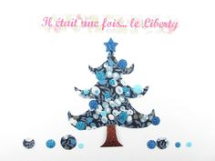 Appliqués thermocollants liberty Sapin de Noël tissu Wiltshire bleu flex pailletés patch sapin à repasser motif noel liberty thermocollant