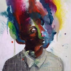 "Saatchi Art Artist Hanna Ilczyszyn; Painting, ""Rainbow smoke"" #art"