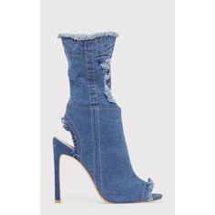 Anya Blue Ripped Denim Cut out Sock Ankle Boots ($50) ❤ liked on Polyvore featuring shoes, boots, ankle booties, blue, blue boots, bootie boots, pointy booties, pointed-toe ankle boots and blue booties
