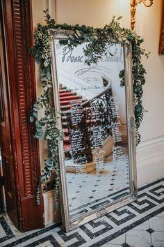 Mirror Table Plan - Darina Stoda Photography | Lusan Mandongus Wedding Dress | Jenny Packham Headdress | Pastel Green & White Wedding at Mount Ephraim Gardens