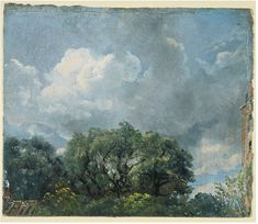 Study of sky and trees  Object: Oil sketch  Place of origin: England, Great Britain (made)  Date: ca. 1821 (made)  Artist/Maker: John Constable, born 1776 - died 1837 (artist)  Materials and Techniques: oil on paper
