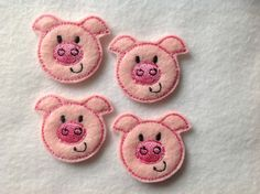PIG - 4 Machine Embroidered Felt Embellishments / Appliques - Ready To Ship ~ Available Cut Or Uncut by CreationsByKG on Etsy