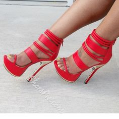 Shoespie Hot Red Open-toed Ankle Wrap Stiletto /Platform Dress Sandals