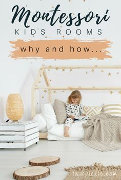Montessori kids room Montessori kids rooms encourage independence freedom of movement and a sense of calm. Sounds fab doesn't it? Find out more about the theory and how to put it into practice in your kids bedroom design. Montessori Bedroom, Montessori Baby, Montessori Books, Girl Room, Girls Bedroom, Kid Bedrooms, Baby Bedroom, Kids Rooms, Boy Rooms