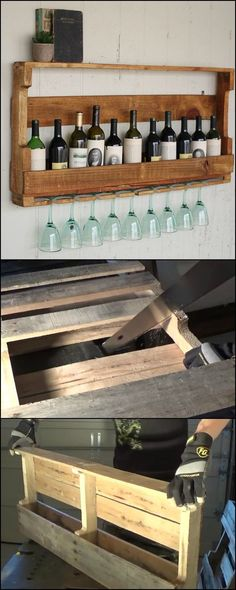 DIY Wine Rack From Recycled Pallet  This storage idea is perfect for wine lovers who don't leave their wine unconsumed for too long. BUT you can definitely make use of this pallet wine rack in slightly different ways!  Know more about our ideas for this pallet wine rack and learn how to make one on our site at  http://diyprojects.ideas2live4.com/2015/11/02/wine-rack-from-a-recycled-pallet/