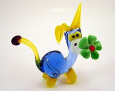 Blown Glass Blue Donkey With a Green Flower Glass Donkey Sculpture Collectible
