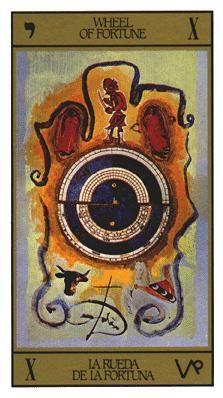 Wheel of Fortune Tarot Card by Salvador Dali Art Experience NYC Wheel Of Fortune Tarot, Tarot Cards Major Arcana, Art Beauté, Salvador Dali Art, Fortune Cards, Tarot Card Meanings, Six Month, Oracle Cards, Tarot Decks