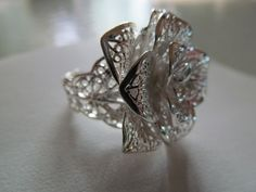 LARGE SILVER PLATED ROSE Ring. THE LOOK OF LACE. I WANT THIS!!