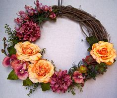 Tropical Oval Grapevine Wreath by ArrangingWithLove on Etsy