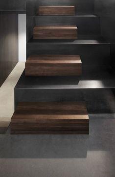 scale in legno e cemento color ardesia - stair design....