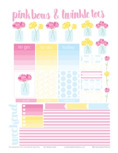 FREE Peony Bunches Sticker Planner Stickers by Pinkbow & Twinkle toes