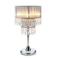 TABLE / BEDSIDE LAMP DIVA WITH SILVER CRYSTAL STYLE SHADE!   4 COLOURS!