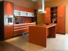 My lovely kitchen: Orange Brown Glass Doors Island Seating ~  Decoration Inspiration