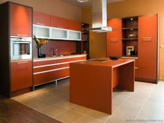 My lovely kitchen: Orange Brown Glass Doors Island Seating ~  Decoration Inspiration