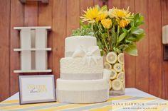 Beautiful Cake by Chicago baker - Daisy Cake Boutique // www.daisycakeboutique.com  #Yellow #Gray #Wedding #Cake