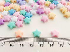 100 pcs Tiny Stars mix colors plastic pastel beads by Belganem