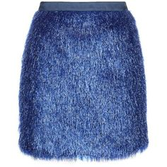 Vielma London - Blue Crystal Miniskirt (168 AUD) ❤ liked on Polyvore featuring skirts, mini skirts, party skirts, mini skirt, short fringe skirt, fringe mini skirt and sparkle skirts
