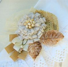 Flower Pin Brooch Corsage With Vintage Lace by PickleBerryTrifles,
