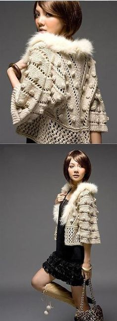 Detailed description o f this jacket - cape with fur collar you can see at down side.