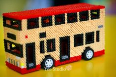 3D Perler Bead Projects   3D Double-Deck Bus Perler Bead Project