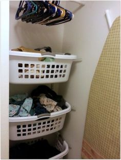Storage Solutions for Small Spaces | Small space storage solution--hanging laundry baskets | For the Home