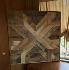 This was custom made to fill space above a stairway. Dimensions are 42X42 but can be customized to fit your needs. *Contact us for a shipping quote.